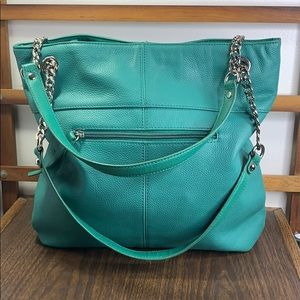 Tignanello Green Pebble Leather Chain Handle Tote